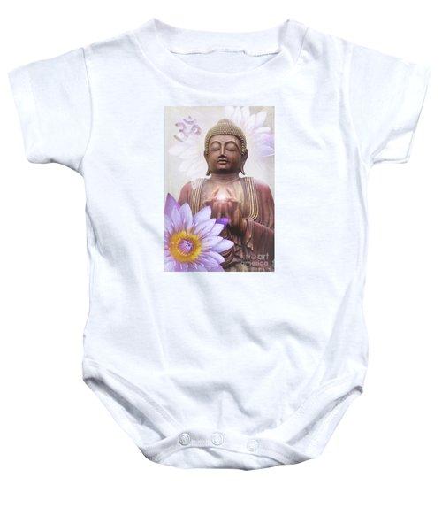 Om Mani Padme Hum - Buddha Lotus Baby Onesie