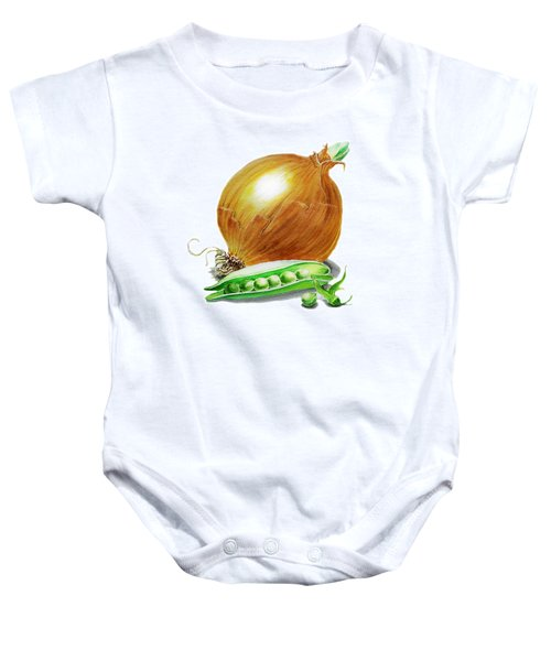 Onion And Peas Baby Onesie by Irina Sztukowski