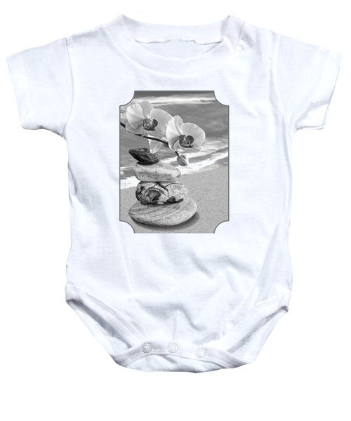 Orchids And Pebbles On The Sand In Black And White Baby Onesie