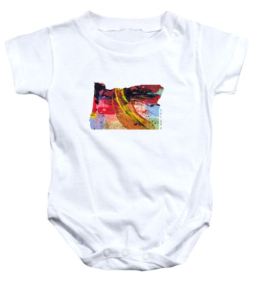 Oregon Map Art - Painted Map Of Oregon Baby Onesie by World Art Prints And Designs