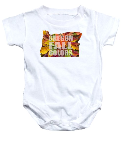 Oregon Maple Leaves Mixed Fall Colors Text Baby Onesie