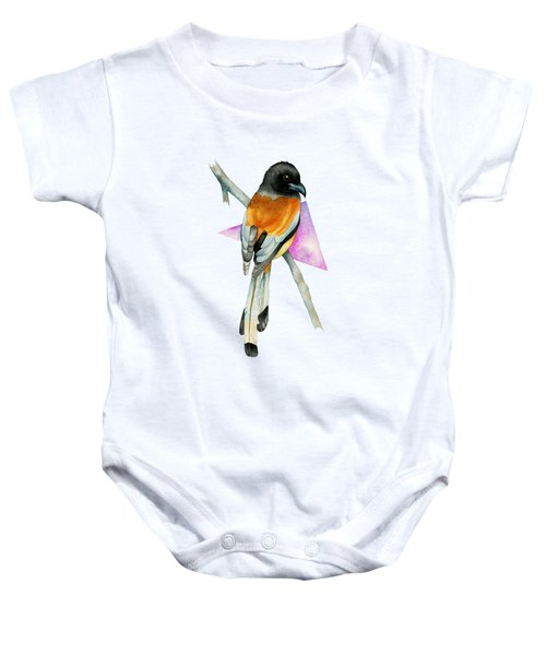 Oriole Bird With Triangle Watercolor Painting Baby Onesie