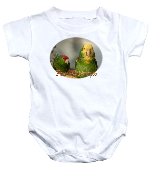 Paco And Chick-e-poo Baby Onesie by Zazu's House Parrot Sanctuary