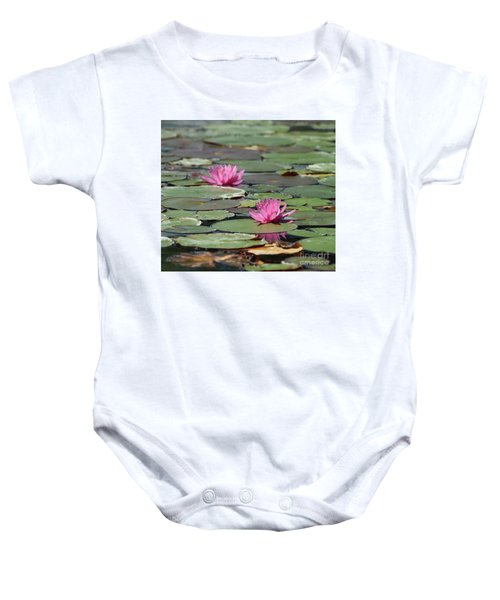 Pair Of Pink Pond Lilies Baby Onesie