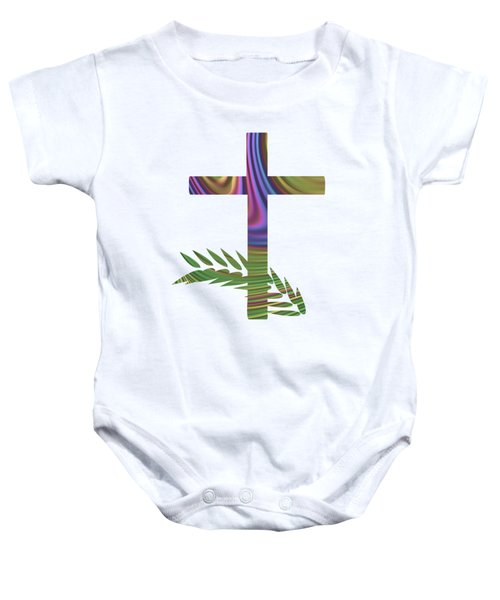 Palm Sunday Cross With Fractal Abstract Baby Onesie