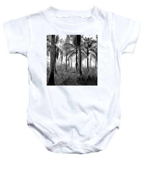 Palm Trees - Black And White Baby Onesie