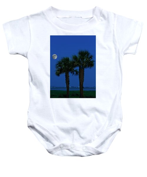 Palms And Moon At Morse Park Baby Onesie