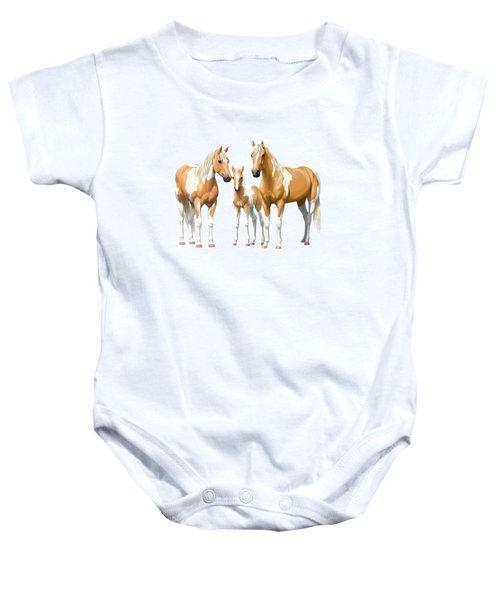 Palomino Paint Horses In Winter Pasture Baby Onesie