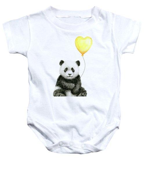 Panda Baby With Yellow Balloon Baby Onesie