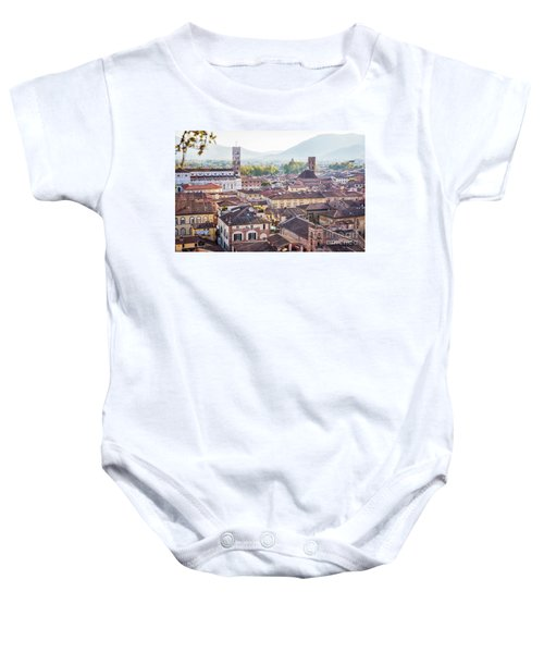 panorama of old town Lucca, Italy Baby Onesie
