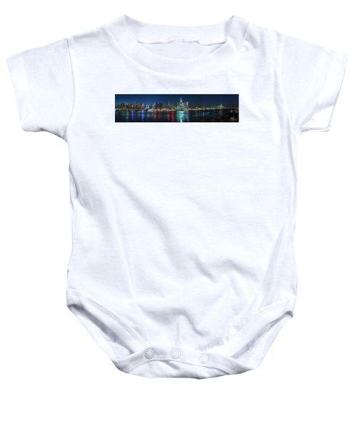 Panoramic Skyline-manhattan Baby Onesie