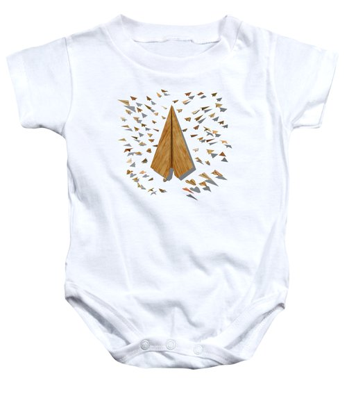 Paper Airplanes Of Wood 10 Baby Onesie by YoPedro