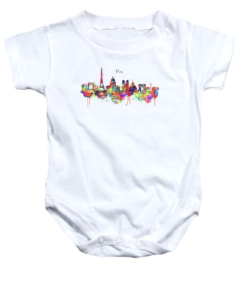 Paris Skyline 2 Baby Onesie by Marian Voicu