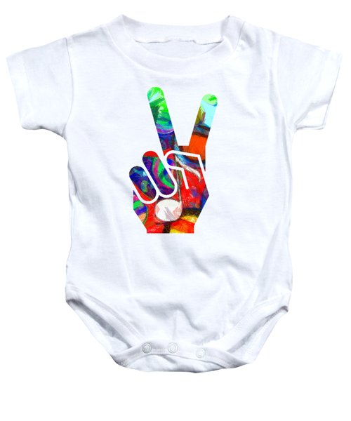 Peace Hippy Paint Hand Sign Baby Onesie by Edward Fielding