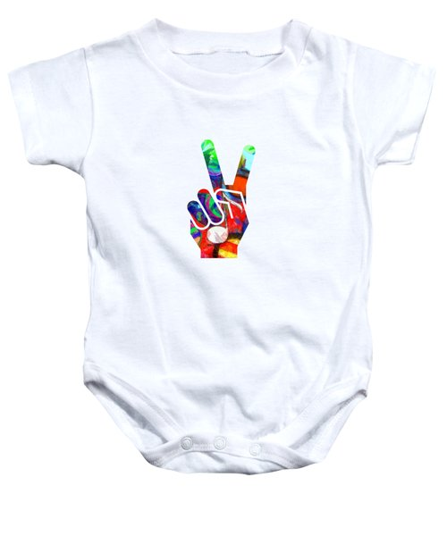 Peace Hippy Paint Hand Sign Baby Onesie