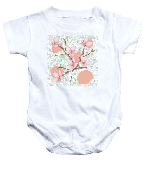 Peach Blossom Pattern Baby Onesie