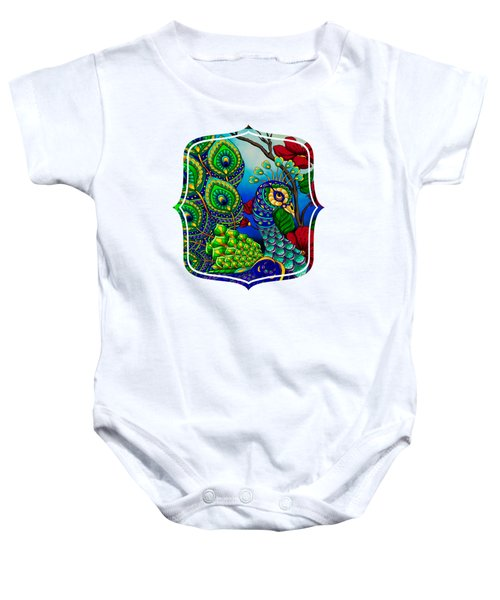 Peacock Zentangle Inspired Art Baby Onesie