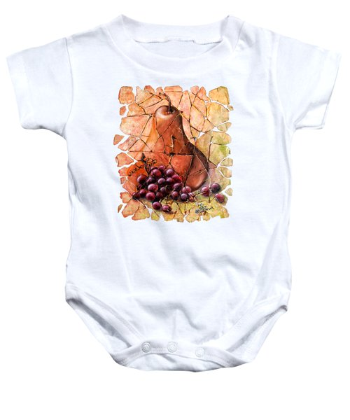 Pear And Grapes Fresco Baby Onesie