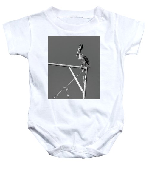Pelican In Black And White Baby Onesie