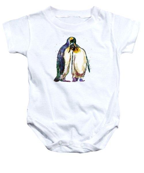 Penguin Couple Baby Onesie by Marian Voicu