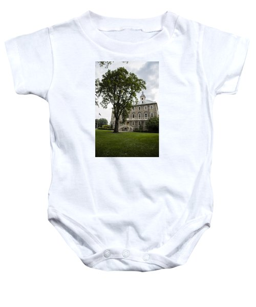 Penn State Old Main From Side  Baby Onesie by John McGraw