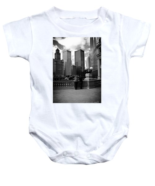 People And Skyscrapers Baby Onesie