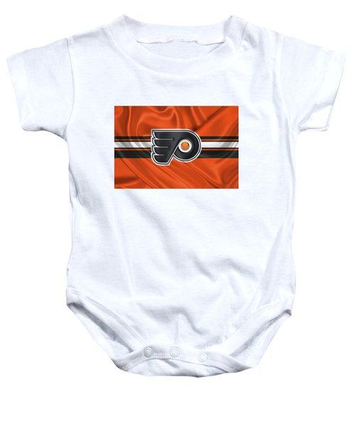 Philadelphia Flyers - 3 D Badge Over Silk Flag Baby Onesie