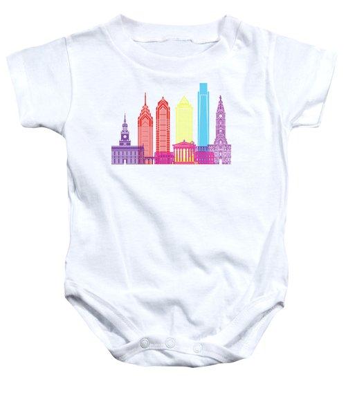 Philadelphia Skyline Pop Baby Onesie by Pablo Romero