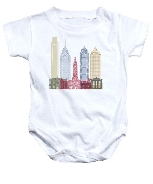 Philadelphia Skyline Poster Baby Onesie by Pablo Romero