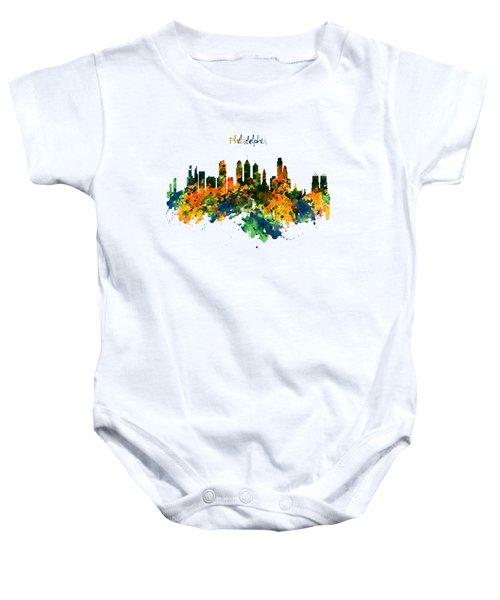 Philadelphia Watercolor Skyline Baby Onesie by Marian Voicu