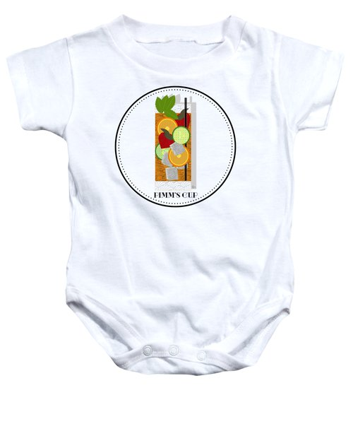 Pimm's Cup Cocktail In Art Deco  Baby Onesie by Cecely Bloom