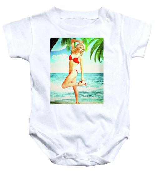 Pin-up Beach Blonde In Red Bikini Baby Onesie