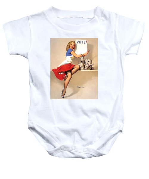 Pin Up Blond Woman With Vote Sign Baby Onesie