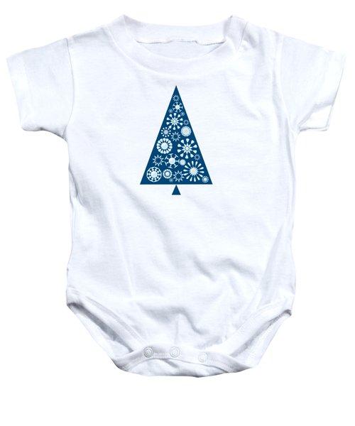 Pine Tree Snowflakes - Blue Baby Onesie