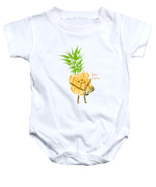 Pineapple Playing Saxophone Baby Onesie by Neal Battaglia