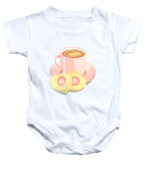 Pink Cup Coffee Served With Cookies Baby Onesie by Sonja Taljaard