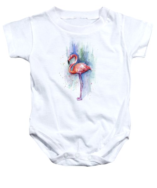 Pink Flamingo Watercolor Baby Onesie