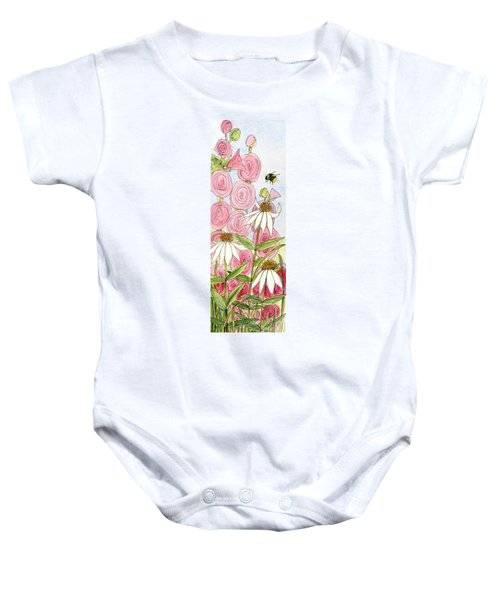 Pink Hollyhock And White Coneflowers Baby Onesie