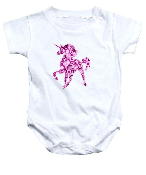 Pink Unicorn - Animal Art Baby Onesie by Anastasiya Malakhova