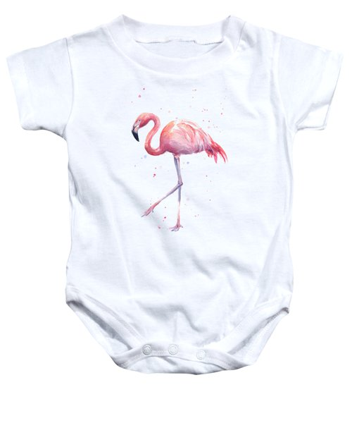 Pink Watercolor Flamingo Baby Onesie