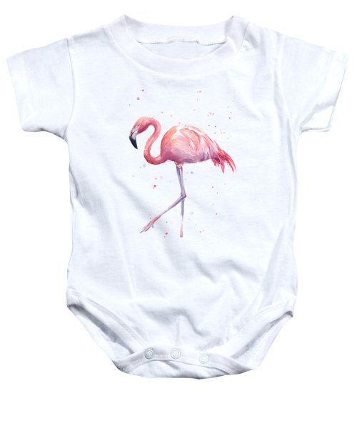 Pink Watercolor Flamingo Baby Onesie by Olga Shvartsur