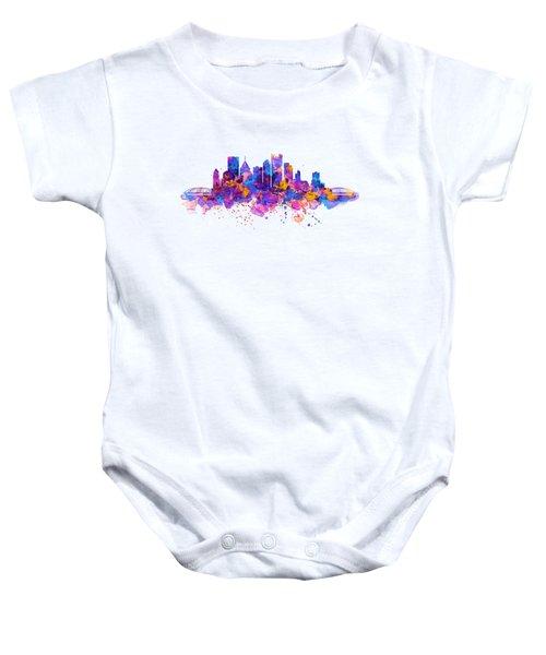 Pittsburgh Skyline Baby Onesie by Marian Voicu