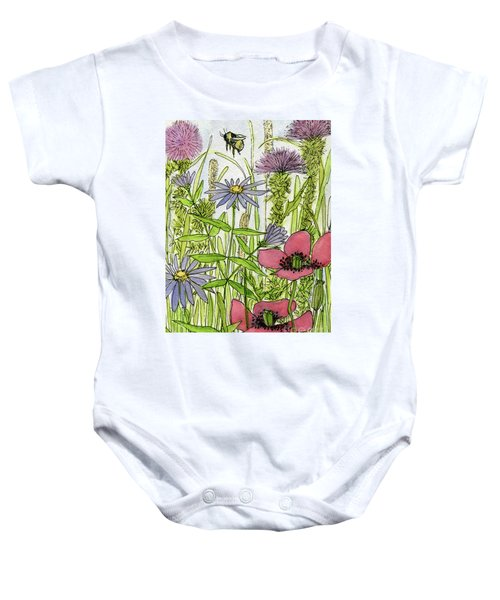 Poppies And Wildflowers Baby Onesie