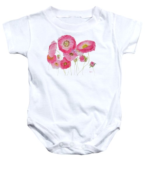 Poppy Painting On White Background Baby Onesie by Jan Matson