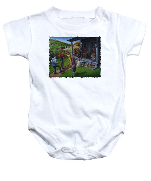 Porch Music And Flatfoot Dancing - Mountain Music - Appalachian Traditions - Appalachia Farm Baby Onesie