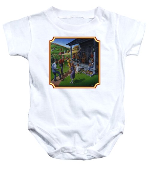 Porch Music And Flatfoot Dancing - Mountain Music - Farm Folk Art Landscape - Square Format Baby Onesie