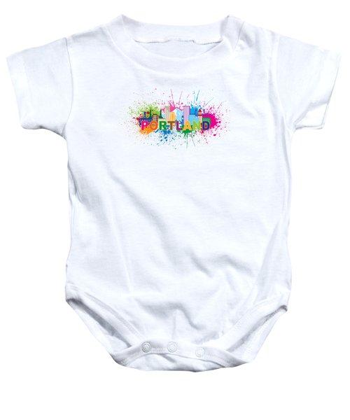 Portland Oregon Skyline Paint Splatter Text Illustration Baby Onesie