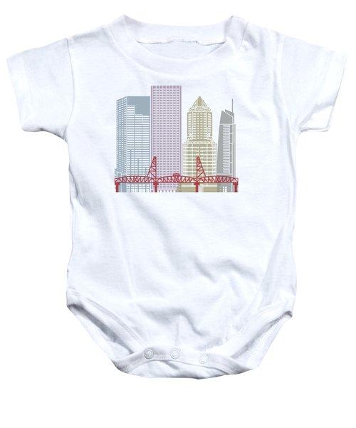 Portland Skyline Poster Baby Onesie