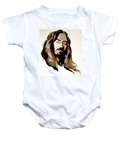 Watercolor Portrait Of A Man With Long Hair Baby Onesie