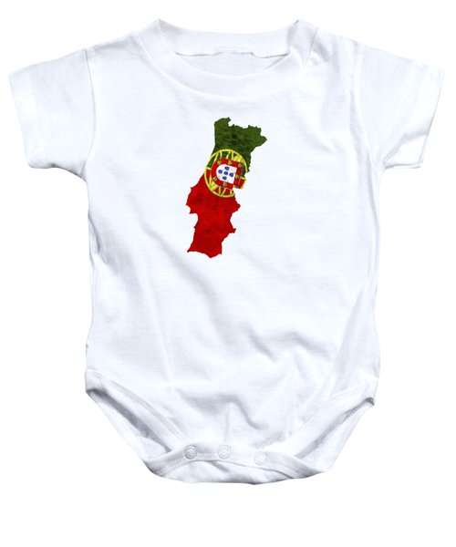 Portugal Map Art With Flag Design Baby Onesie
